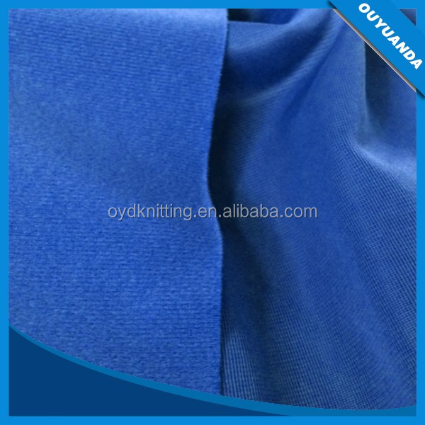 Polyester Warp Knitted Blue One Side Tricot Brush Fabric for Garments/Lining