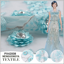 High quality mesh hand crystal stone embroidery lace fabric