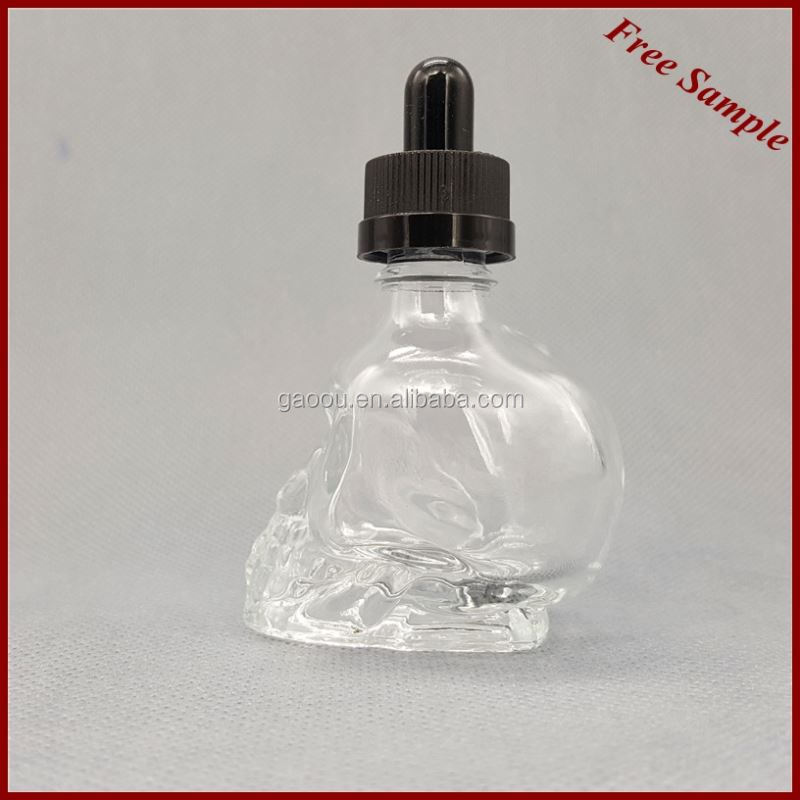 Skull Shape Glass Dropper Bottle For e liquid glass bottles for maple syrup