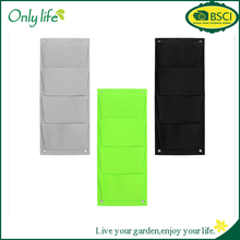 ONLYLIFE Hotsale Green Gray Black Felt Vertical Wall Planter with 4 Pockets Self Watering Garden Planter