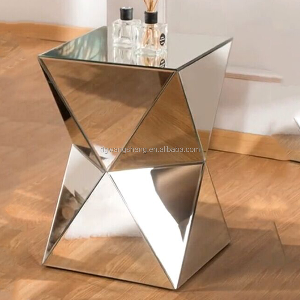 modern polygon mirrored furniture coffee table