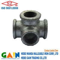 Hot galvanized malleable iron/cast iron pipe fitting side outlet tees equal