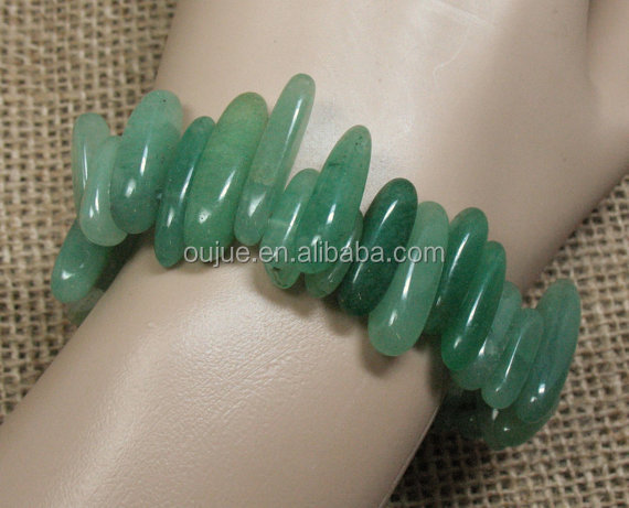 Green Aventurine Hawaiian Chip Stretch Bracelets