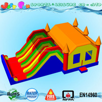 2016 new customized big adult bounce house with 4 lanes slide
