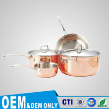 Rose gold color luxury cookware sets stainless steel hot pot SL-P021