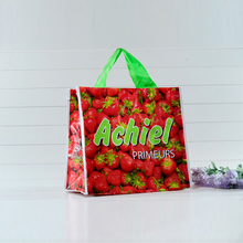 Strawberry printed reusabled shopping pp woven lamination bag with factory price