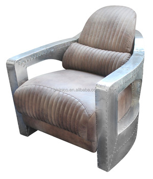 Top Grain Replica Genuine Leather Arm Chair With Cushion/Living Room Leather  Furniture