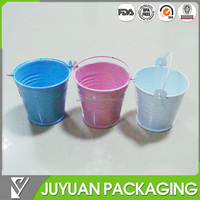 Cute colored small metal tin flower pots with handle wholesale