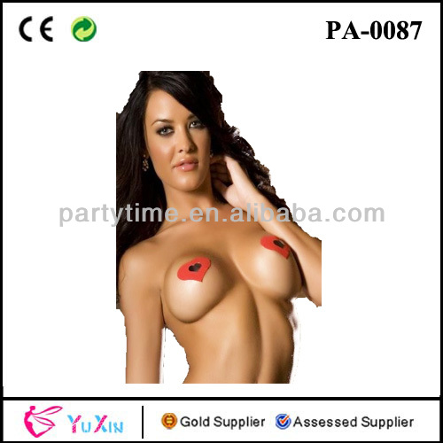 Sexy Risque Black Of Red Heart Pasties Nipple Cover Breast Stickers