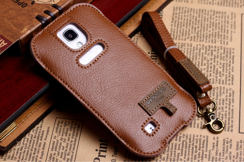 Brown deluxe leather case for Samsung S4 Galaxy Showkoo Angel ,I9500 logo print case