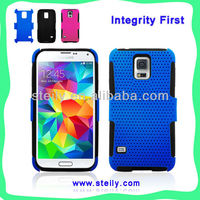 Cheap Factory Wholesale high quality reticular style PC+silicone mobile phone case for Samsung galaxy S5 case