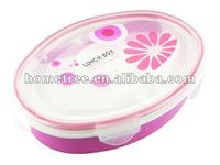 2012 hot picnic box,oval-shaped office lunch box 2 in 1 Lunch box 1000ml with clip