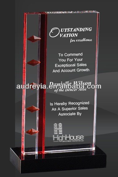 2d/3d engraved crystal plaque award with black crystal base