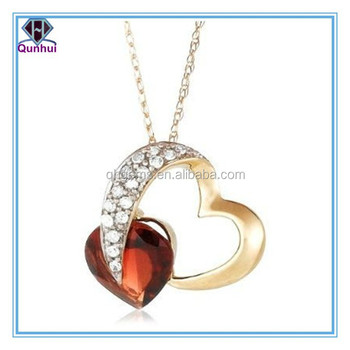 Nice heart shaped champagne gemstone necklace