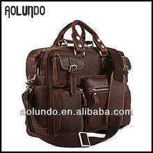 Hard shell briefcase horse leather laptop bag for men