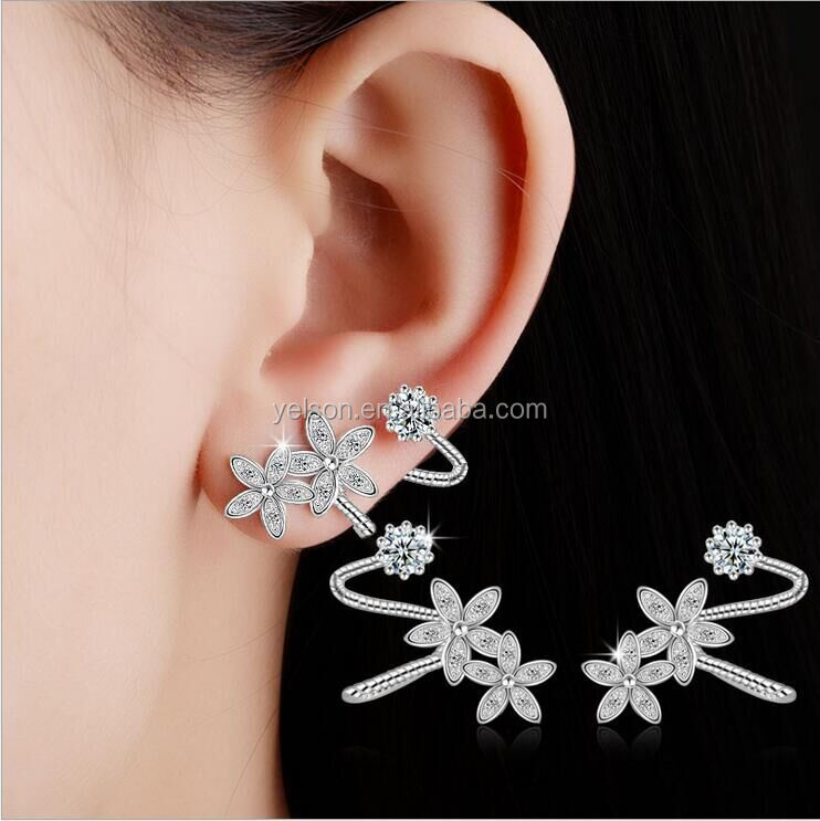 Wholesale <strong>fashion</strong> 925 silver plated stud earring with zircon for lady