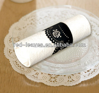 Paper Craft wedding party decoration eco-friendly laser cut pearl paper napkin rings exclusive napkin rings