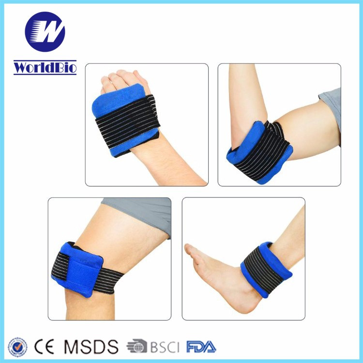 Blue Flexible Cold Pack Gel Ice Pack With Elastic Strap And Wrap Ice Pack For Knee
