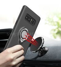 Inlay Magnetic Car Holder Finger Ring Back Phone Cover For Samsung Galaxy Note 8 Case Shockproof 2 in 1
