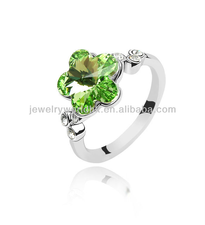 Authentic Austrian olive green crystal gold plated blossoming plum ring