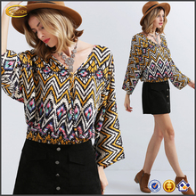 Ecoach high quality fashion casual long sleeve V neck custom female ladies models Zig Zag Print chiffon blouse