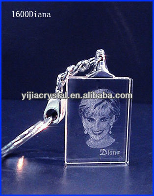 Customized 3D Laser photo Crystal Keychain/mini blank key chain flashlight