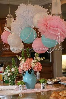 Tissue flowers and paper lanterns party idea pastel for Adornos para murallas
