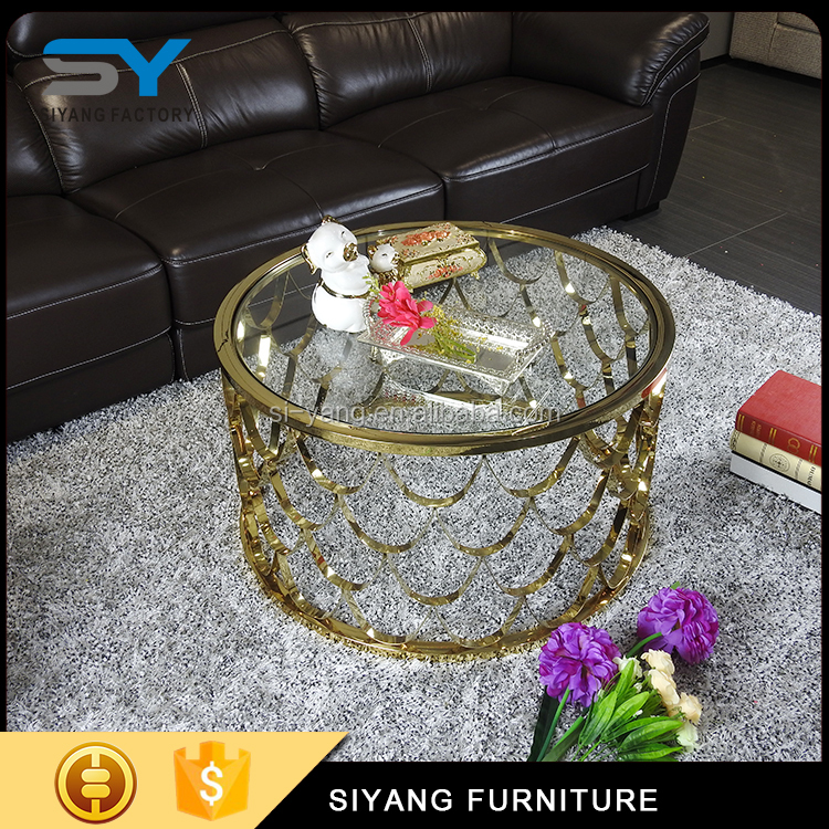Living room furniture glass coffee table with gold stainless steel frame CJ001