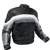 Mens Grey Leather/Fabric Motorcycle Jacket Quilted Lining Chest YKK Zipper Pocket - High Quality fresh Cordur