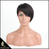 Sexy short style Human hair Glueless full lace machine made wigs,6A Brazilian virgin hair,off black 1b# picture style,wholesale