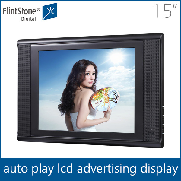 Flintstone 15 inch tempered glass HD wall hanging advertising equipment , Play log function led display board for restaurants