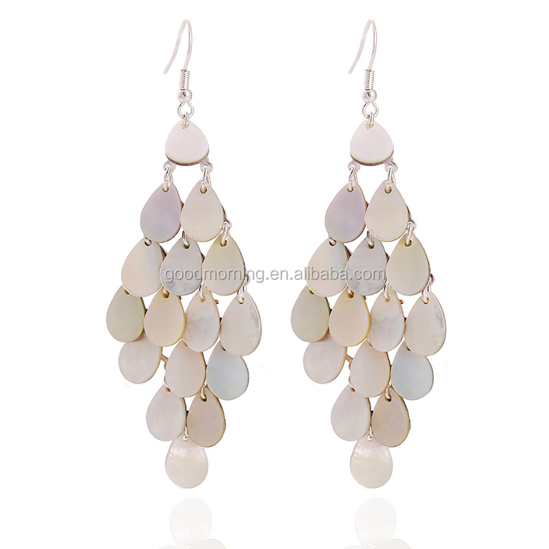 Natural shell chandelier earring