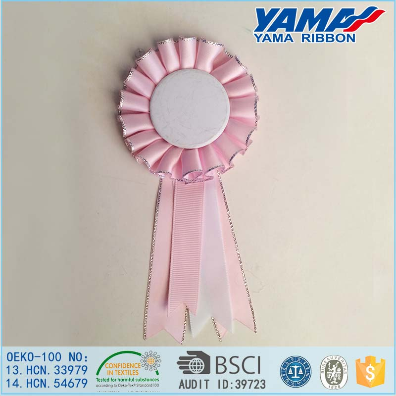 High Quality Colorful Flower Award Ribbon Rosette with Hook