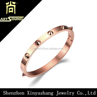 fashion handmade stainless steel jewelry gold rose bangle