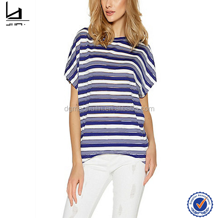 guangdong clothing make your own design quize navy and scream stripe batwing top