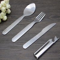 3 in 1 Camping Cutlery , Stainless Steel Travel Cutlery