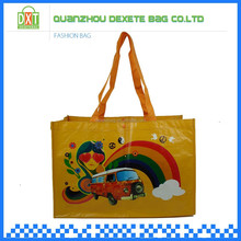 Yellow pp woven custom reusable folding shopping bags