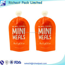 Wholesale Design Your Own Logo Reusable BPA Free Baby Food Pouch Stand Up Double Zip Spout Bag