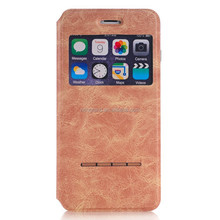 Hot selling mobile phone pu leather flip stand case window view cover for iphone 6 plus
