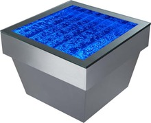 Stainless steel and acrylic water bubble coffee table with Changing led light, used for home&bar&hotel