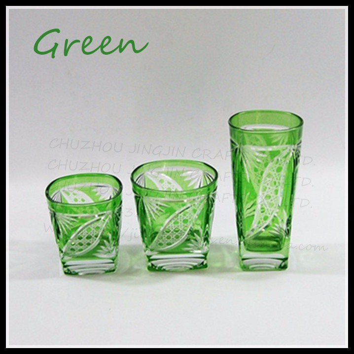 three sets of high-grade sandblasted pattern drinking glass wine cup shot glass