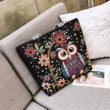 Women's Cotton Colorful Owl Print Canvas Tote large Shopping Bag