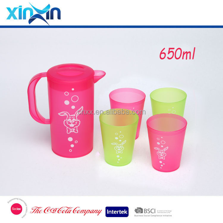 promotional plastic water pitcher and cup set