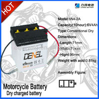 6V 4Ah, Lead Acid Dry charged Motorbike batteries for starting,6N4-2A,loncin motorcycle use Battery