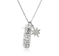 925 sterling silver I LOVE YOU TO THE MOON AND BACK Bar pendant necklace