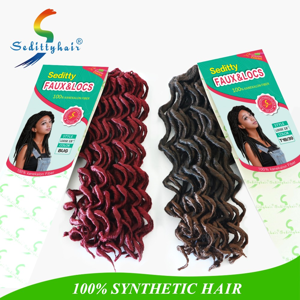 "Seditty OEM brand synthetic Burgundy purple red purple faux locs crochet hair extension 18"" soft dread locks wholesale"