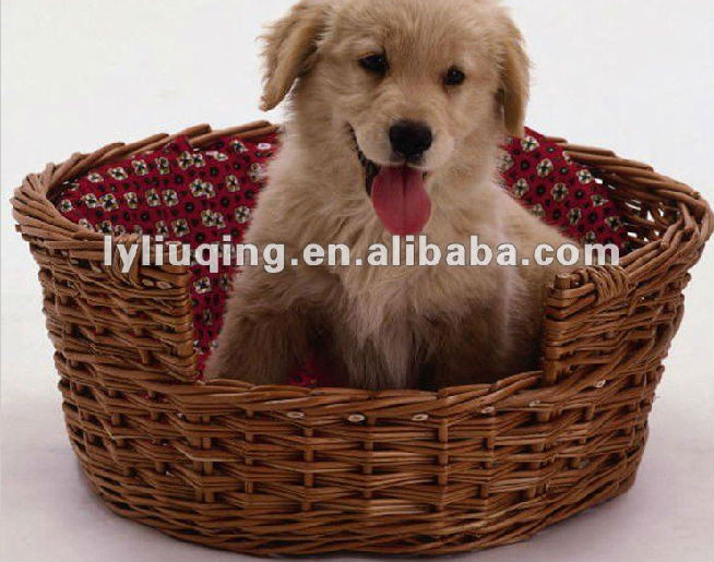 confortable willow/wicker pet basket for dog sleeping with liner