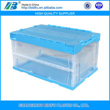 Collapsible Plastic foldable Crates with lid for storage use