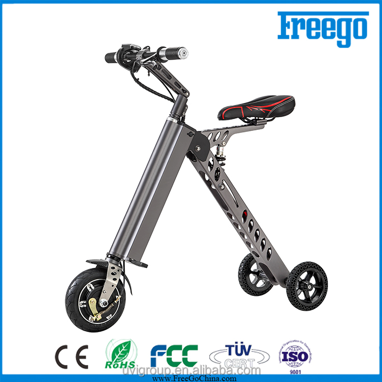 Adult three wheel scooter Mini folding portable electric bike with hidden battery