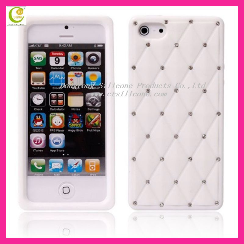 New silicone mesh case for iphone 5 with fake shine fake diamond